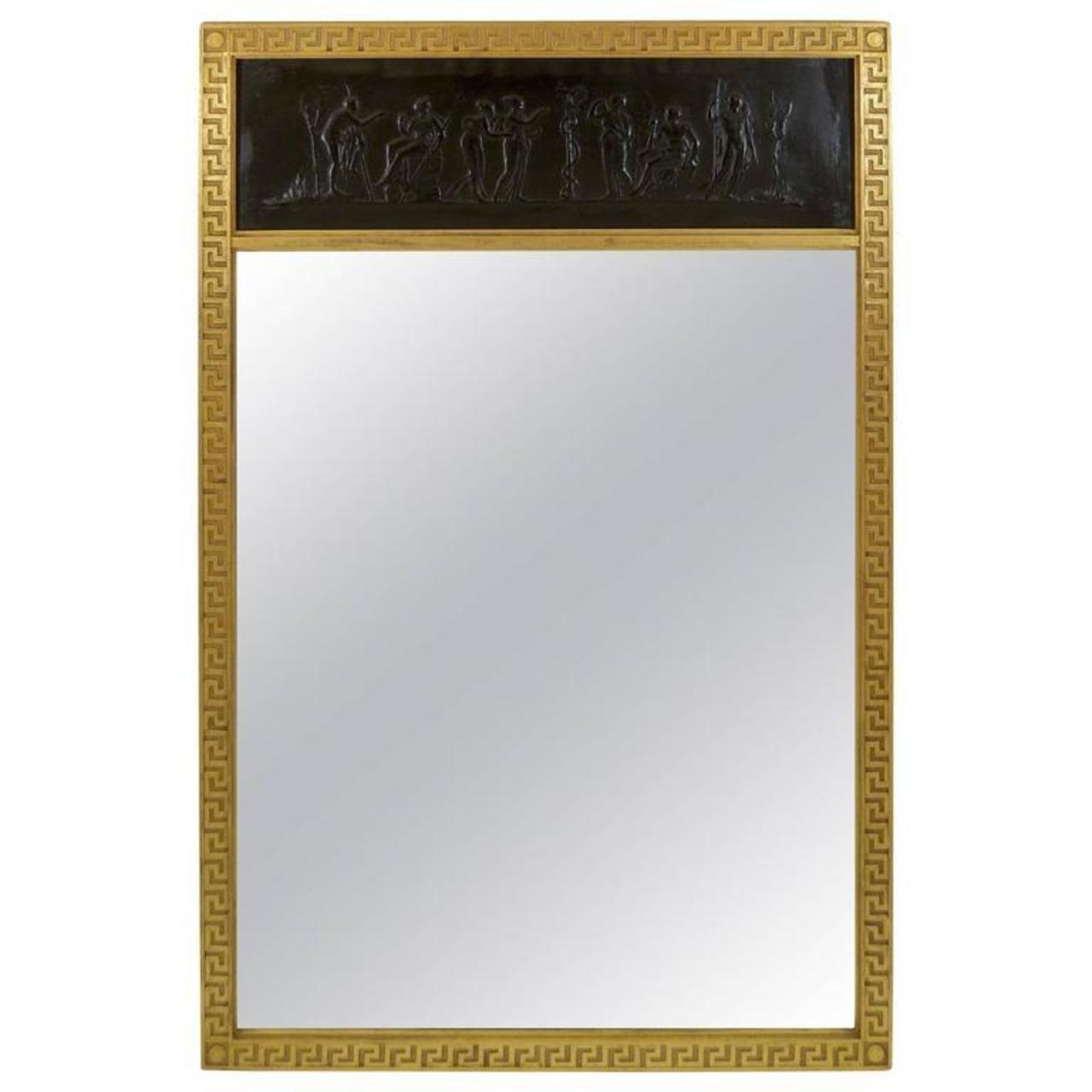 Trumeau mirror with gilt greek key frame flessas design flessas design jeuxipadfo Choice Image