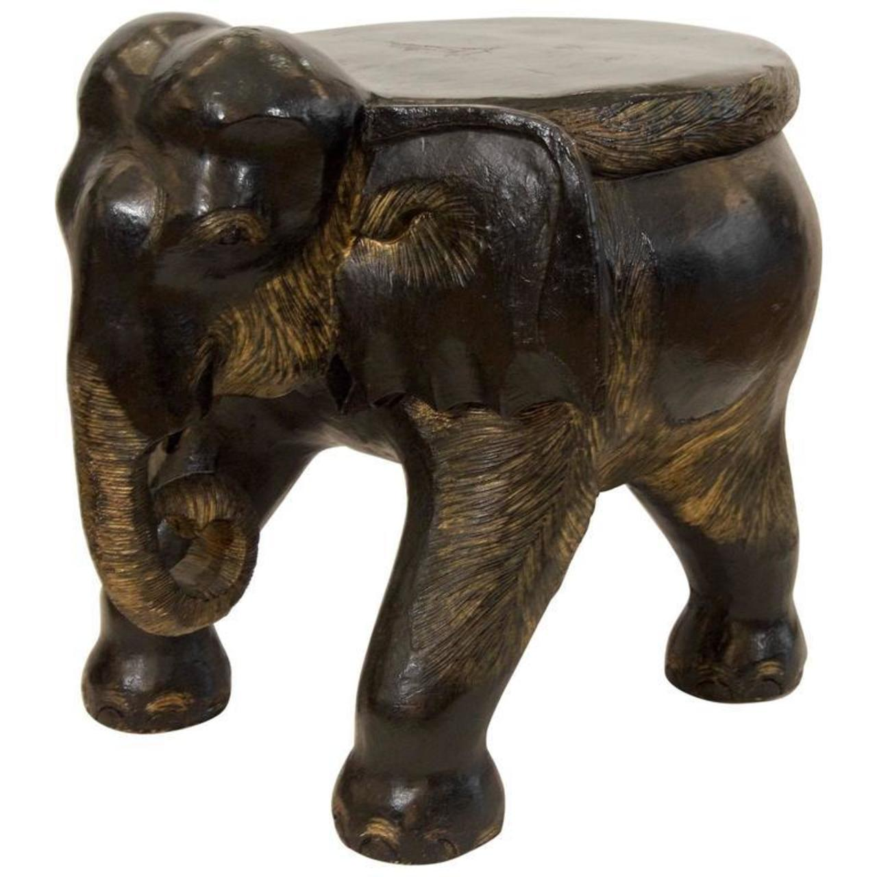 Sensational Carved Wood Elephant Stool Flessas Design Onthecornerstone Fun Painted Chair Ideas Images Onthecornerstoneorg