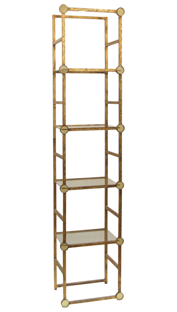 gilt metal etagere with amber glass medallions flessas design. Black Bedroom Furniture Sets. Home Design Ideas