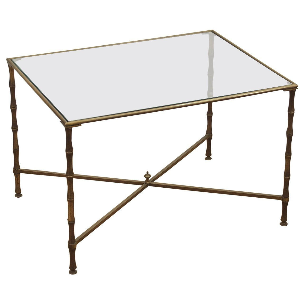 Brass Faux Bamboo Coffee Table: Brass Faux Bamboo Coffee Table